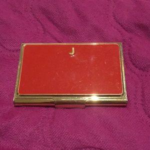 Kate Spade monogram J card holder